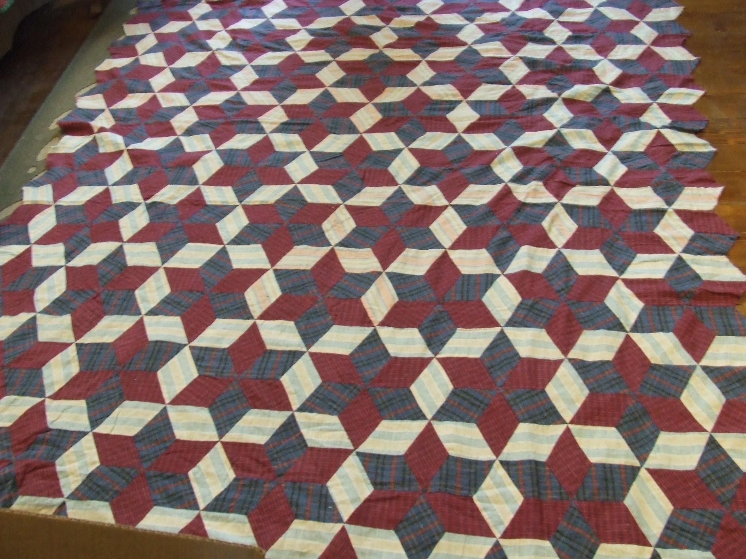 Quilt Patterns For A Man : Flannel Tumbling blocks / hexagonal star Tim Latimer - Quilts etc