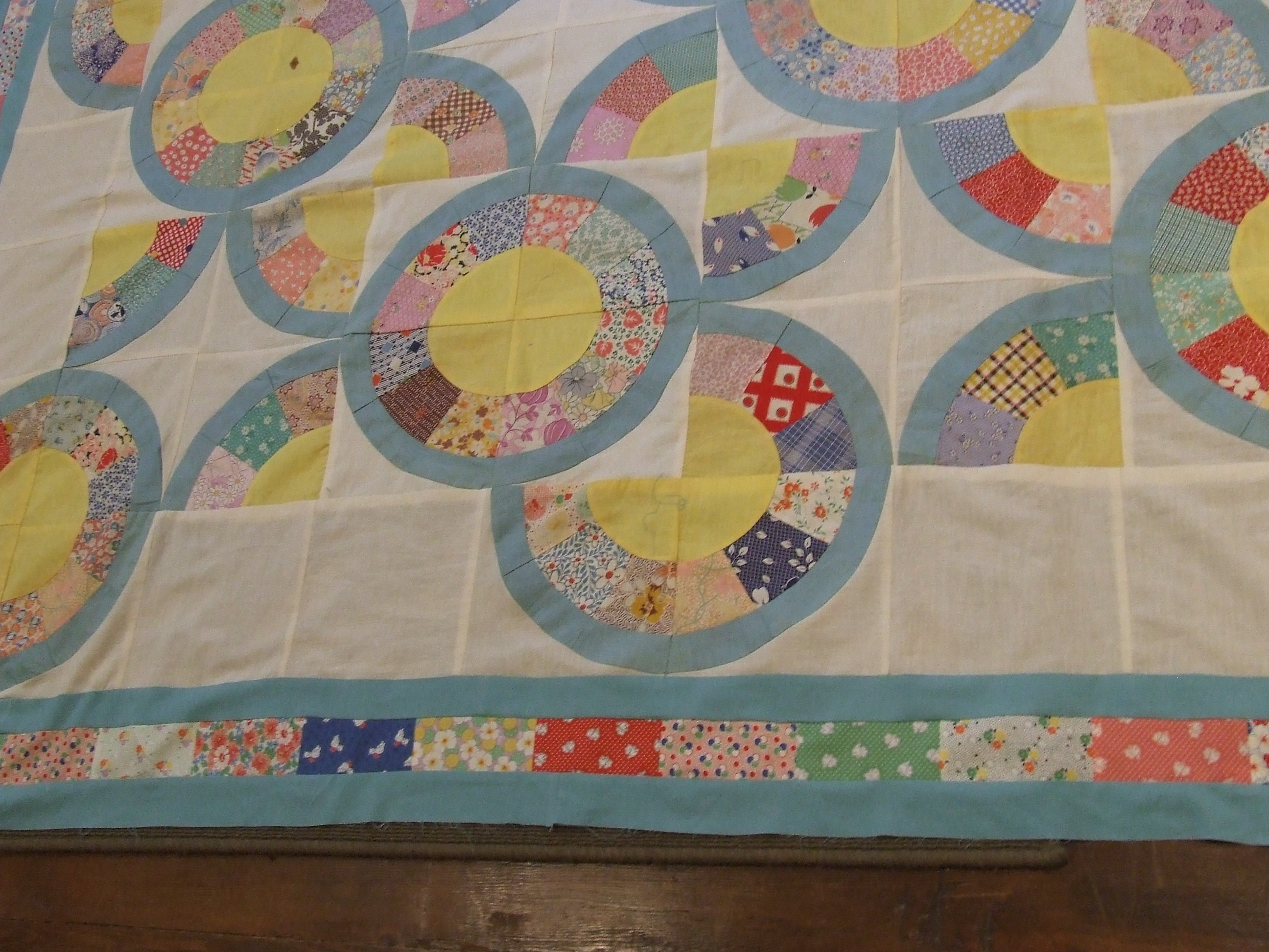 Vintage Japanese Fan Block Quilt Top Finished Tim