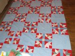 goose tracks, this was a tied quilt that I took apart and re-made