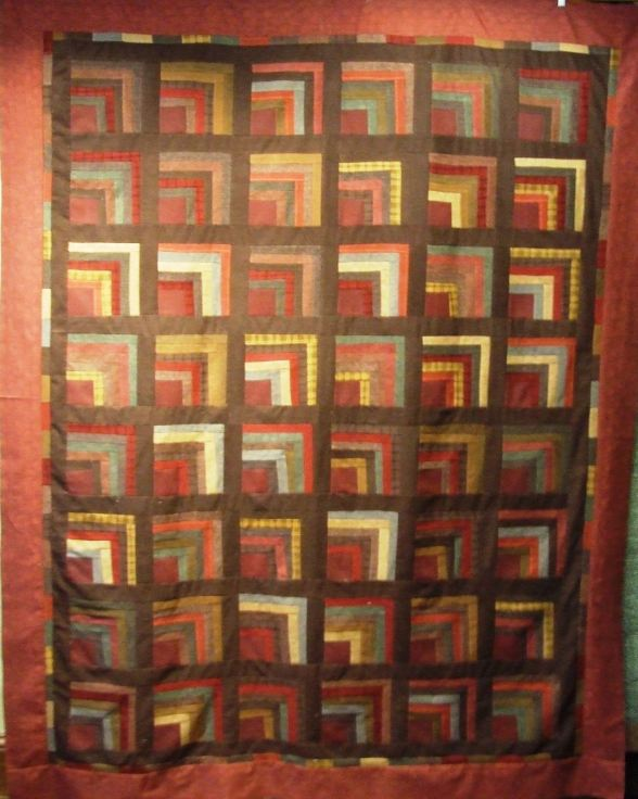 Flannel log cabin quilt top 9