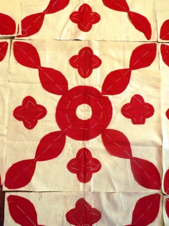 antique red applique blocks 007